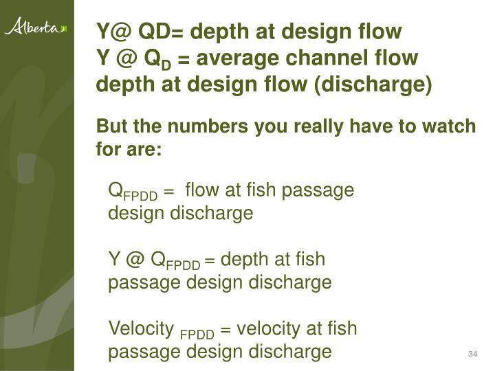 Y@ QD= depth at design flow