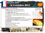 fran ais 6ap le 4 octobre 20111