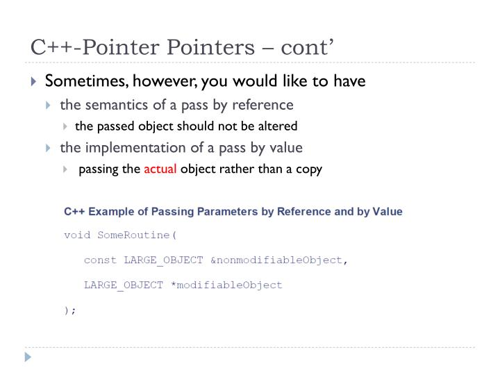 C++-Pointer Pointers – cont'