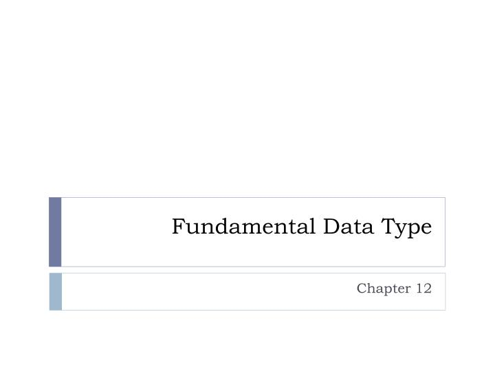 Fundamental data type
