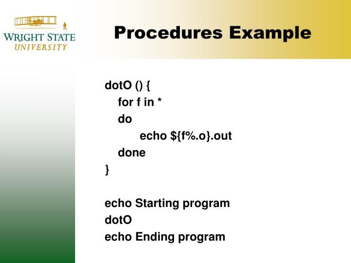 Procedures Example