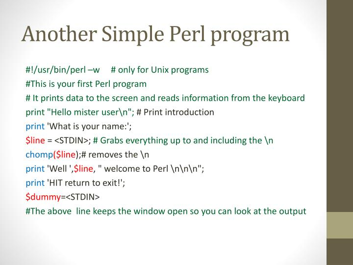 Another Simple Perl program