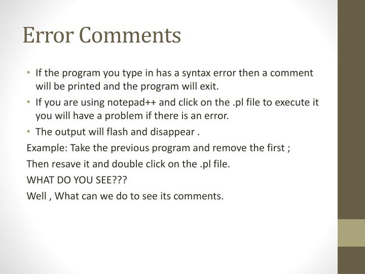 Error Comments