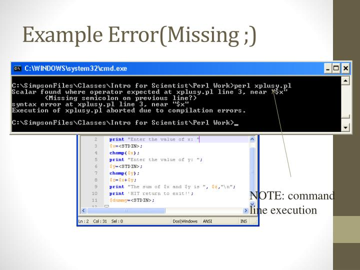 Example Error(Missing ;)