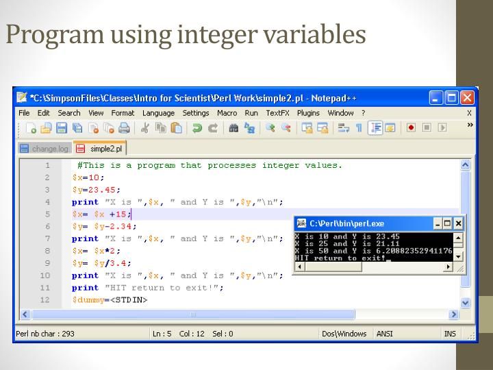 Program using integer variables