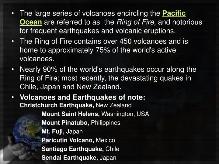 The large series of volcanoes