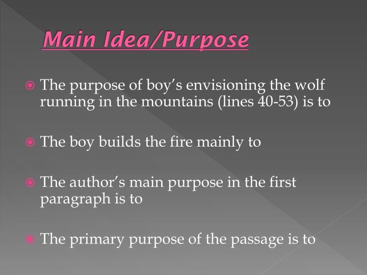 Main Idea/Purpose