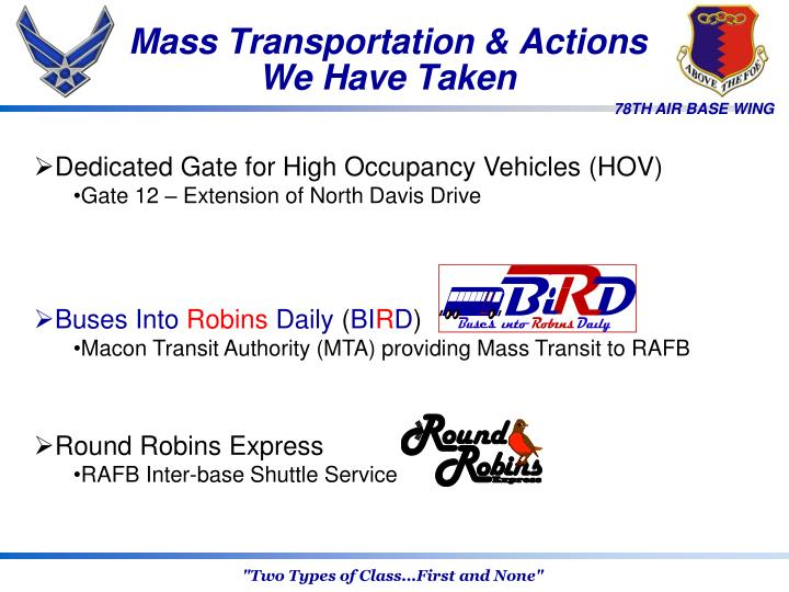 Mass Transportation & Actions We Have Taken