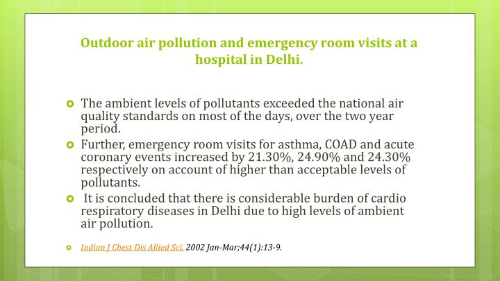 Outdoor air pollution and emergency room visits at a hospital in Delhi.