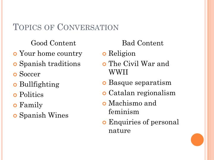 Topics of Conversation