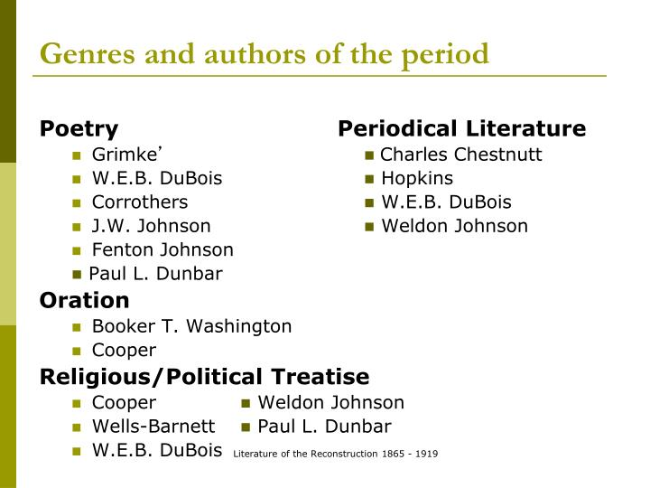 Genres and authors of the period