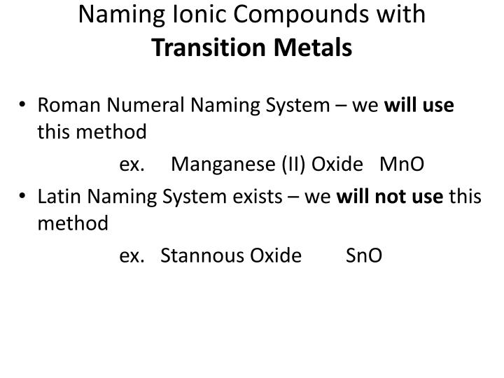 Naming Ionic Compounds with