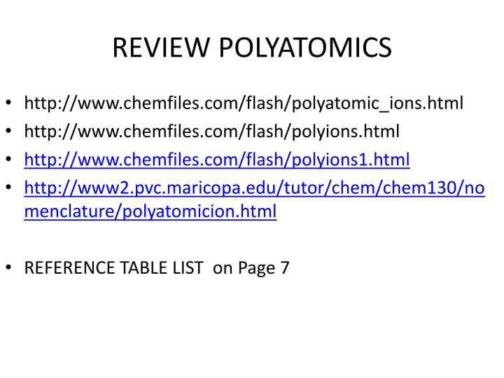 REVIEW POLYATOMICS