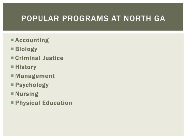 Popular programs at North GA