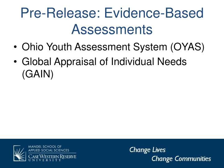 Pre-Release: Evidence-Based Assessments