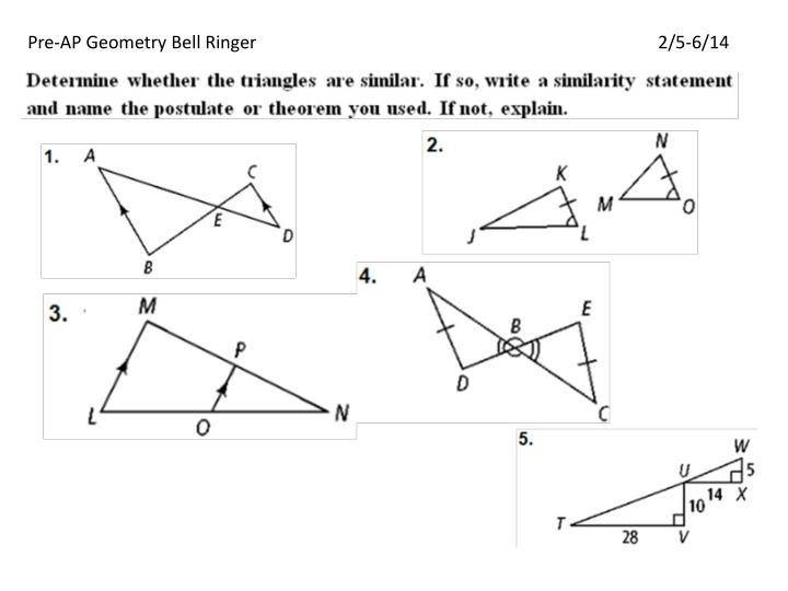 Pre-AP Geometry Bell Ringer2/5-6/14