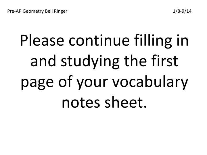 Pre-AP Geometry Bell Ringer1/8-9/14