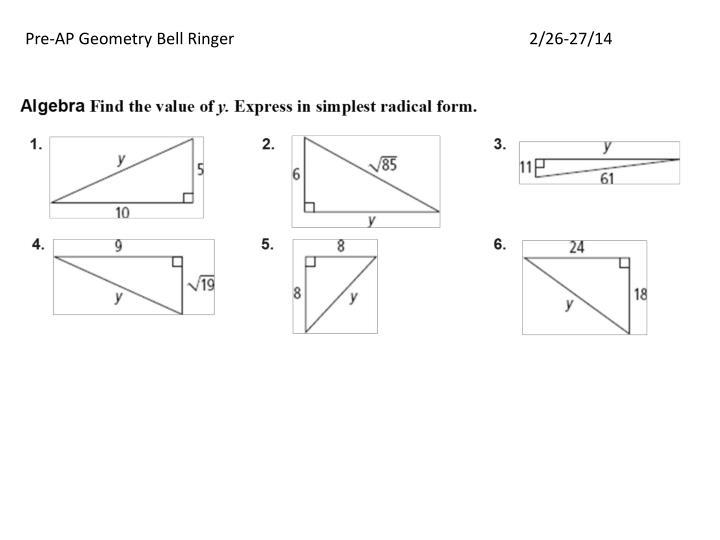 Pre-AP Geometry Bell Ringer2/26-27/14