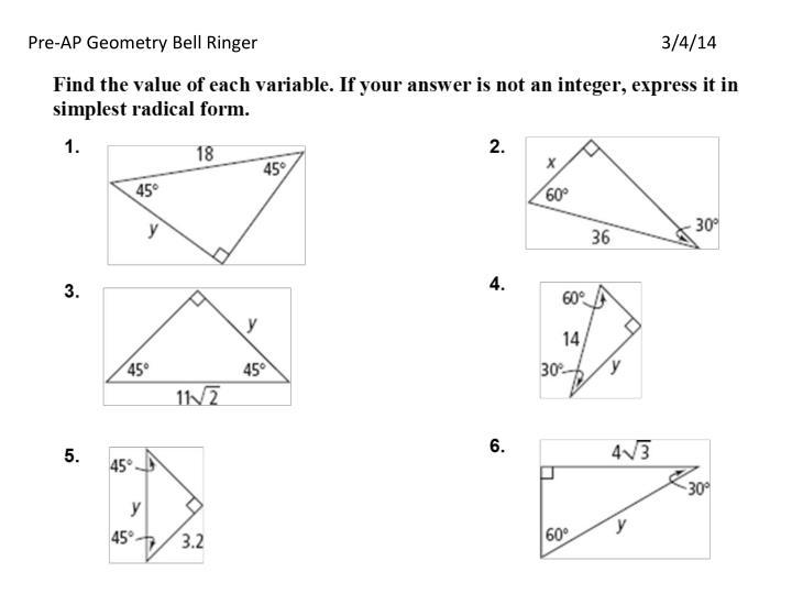 Pre-AP Geometry Bell Ringer3/4/14