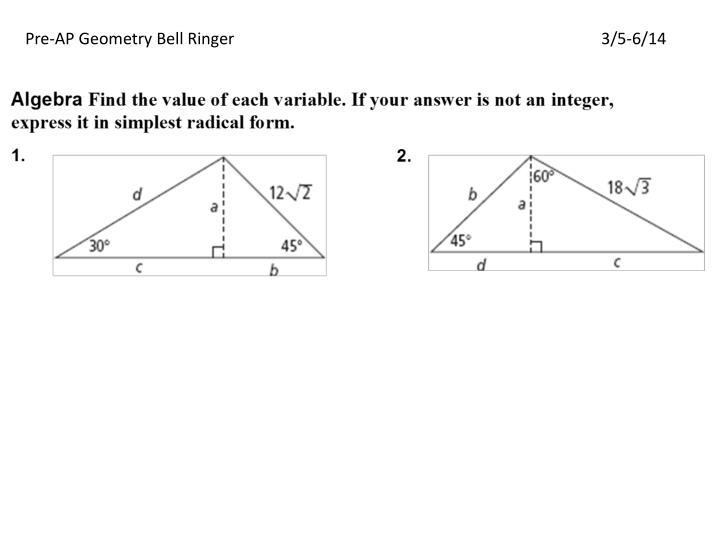 Pre-AP Geometry Bell Ringer3/5-6/14