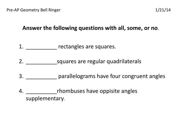 Pre-AP Geometry Bell Ringer
