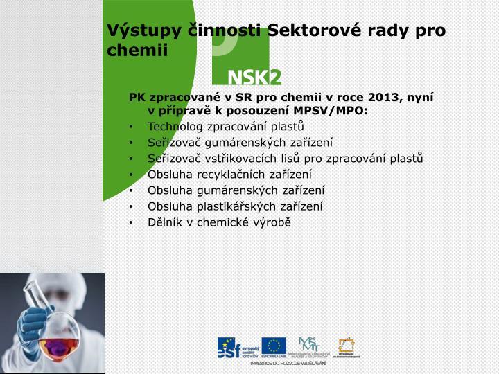 PK zpracované vSR pro chemii vroce 2013, nyní vpřípravě kposouzení MPSV/MPO: