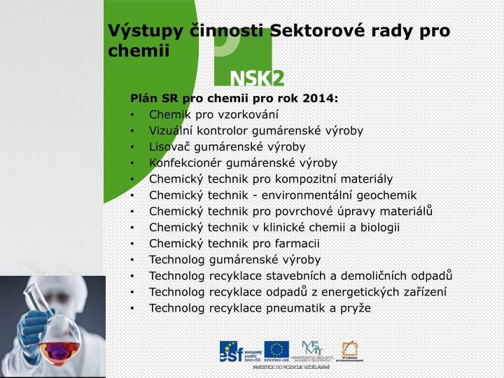 Plán SR pro chemii pro rok 2014: