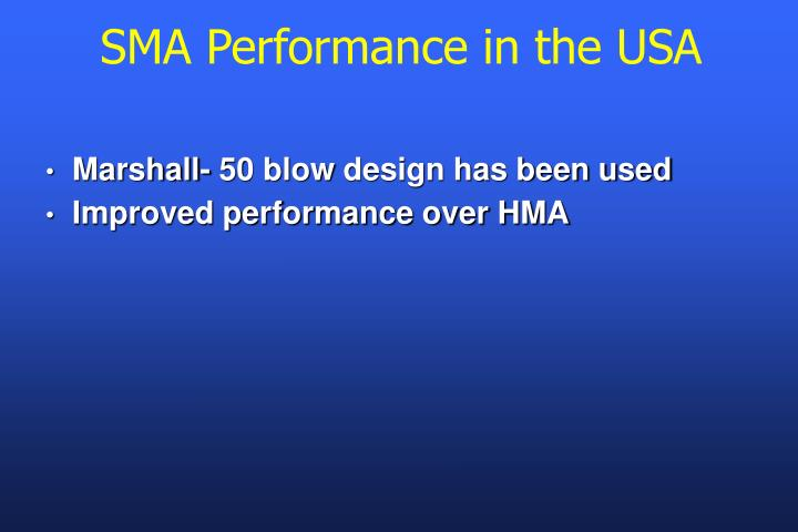 SMA Performance in the USA