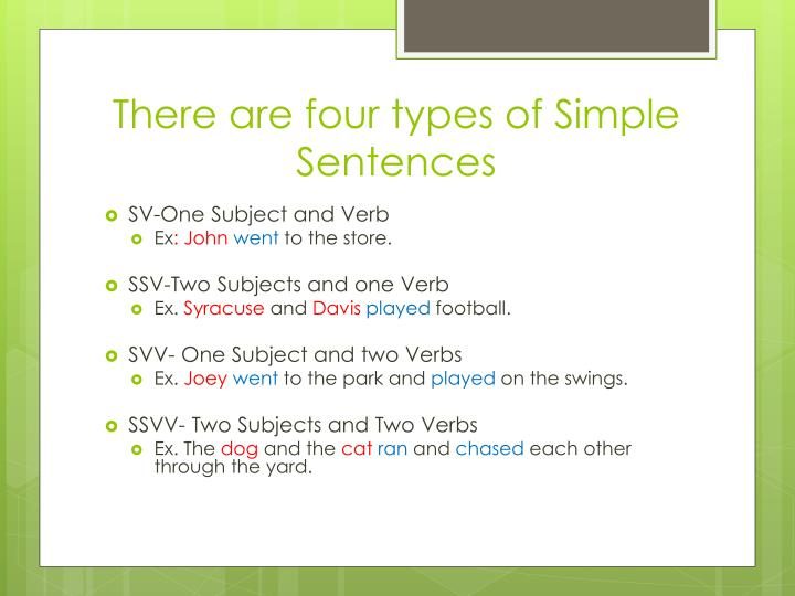 There are four types of Simple Sentences