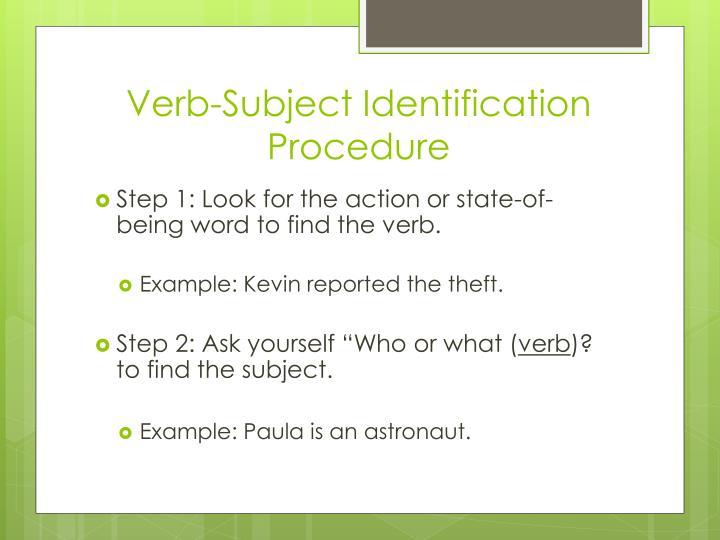 Verb-Subject Identification Procedure
