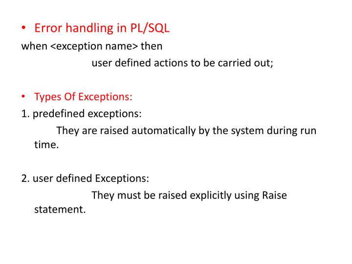 Error handling in PL/SQL