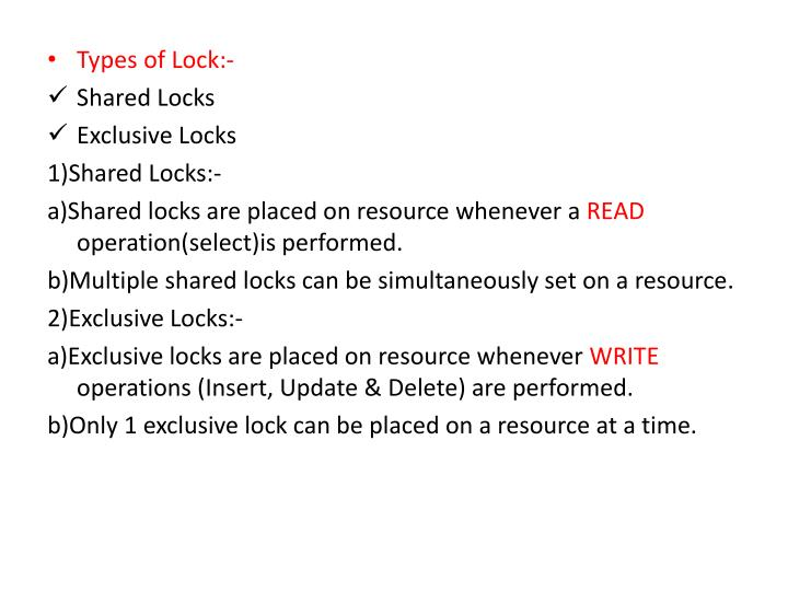 Types of Lock:-