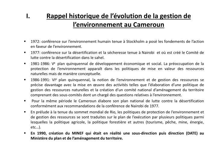 Rappel historique de l'évolution de la gestion de l'environnement au Cameroun