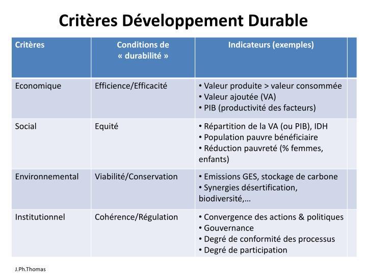 Critères Développement Durable