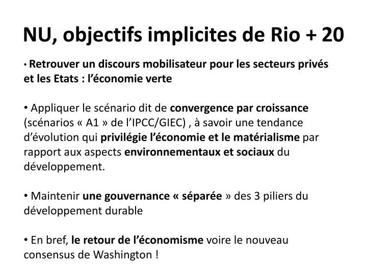 NU, objectifs implicites de Rio + 20