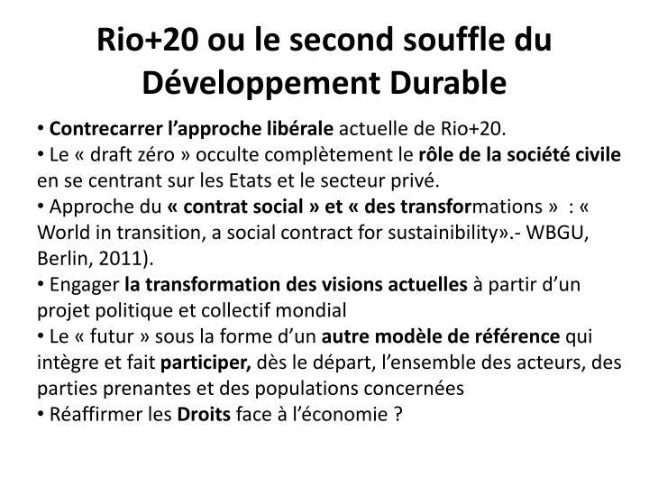 Rio+20 ou le second souffle du Développement Durable