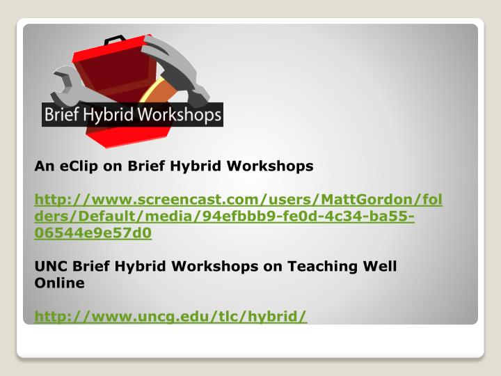 An eClip on Brief Hybrid Workshops