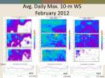 avg daily max 10 m ws february 2012