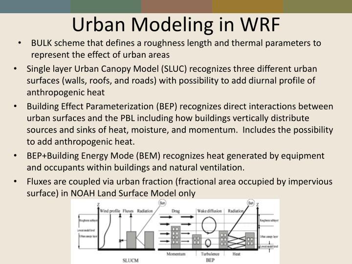 Urban Modeling in WRF