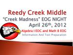 reedy creek middle creek madness eog night april 26 th 2012