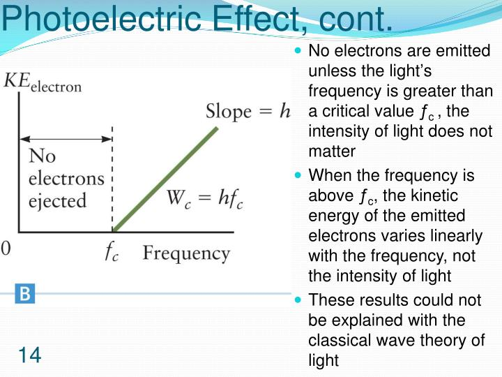 Photoelectric Effect, cont.