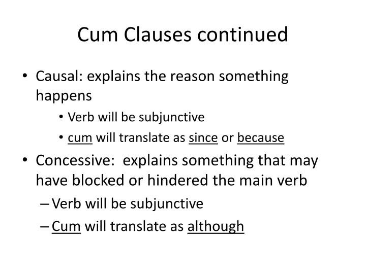 Cum Clauses continued