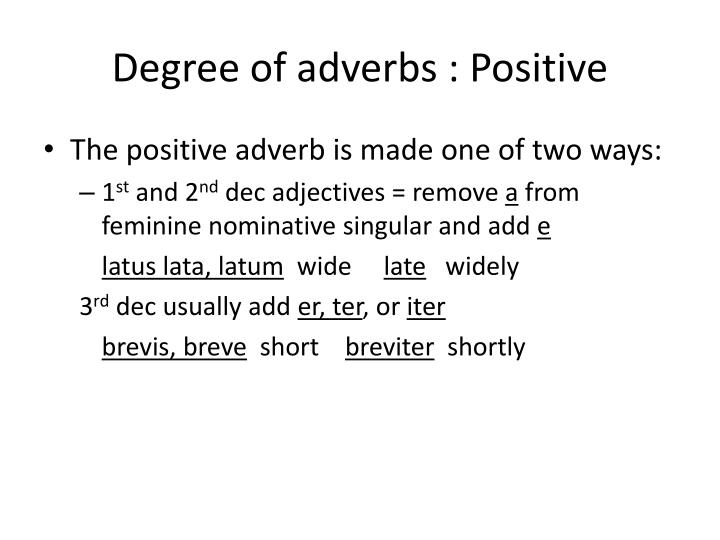 Degree of adverbs : Positive