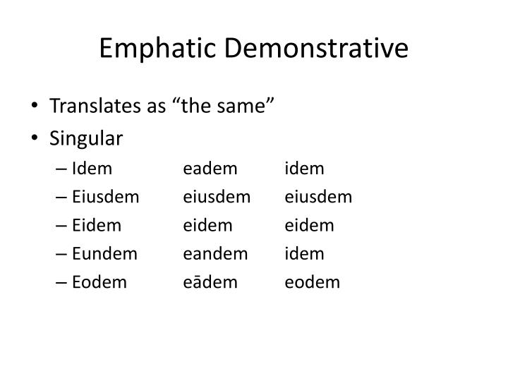 Emphatic Demonstrative