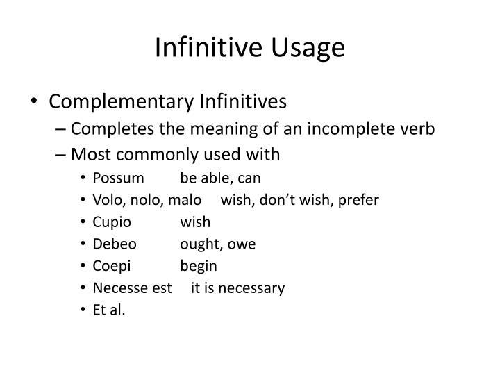 Infinitive Usage