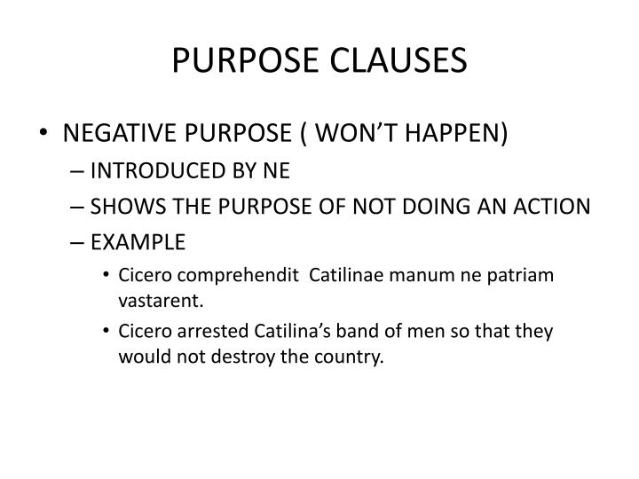 PURPOSE CLAUSES