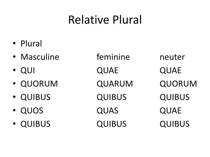 Relative Plural