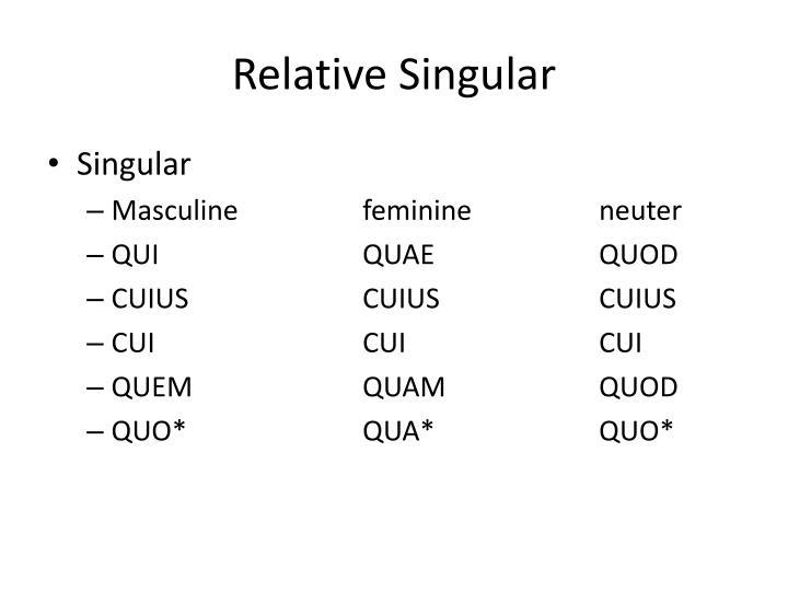 Relative Singular