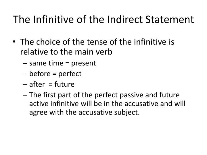 The Infinitive of the Indirect Statement