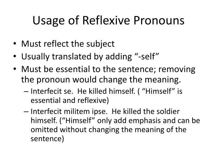 Usage of Reflexive Pronouns